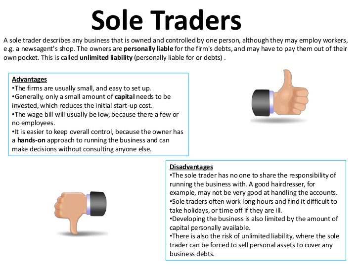 what are sole traders and partnerships A sole proprietorship, also known as the sole trader or simply a proprietorship, is a type of enterprise that is owned and run by one natural person and in which there is no legal distinction between the owner and the business entity the owner is in direct control of all elements and is legally accountable for the finances of such business and .
